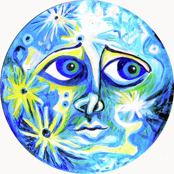 Wall Art - Painting - Moonface With Craters by Genevieve Esson