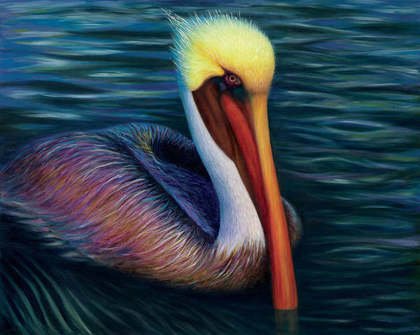 Pelican Painting - Moonglow by Tammy Olson