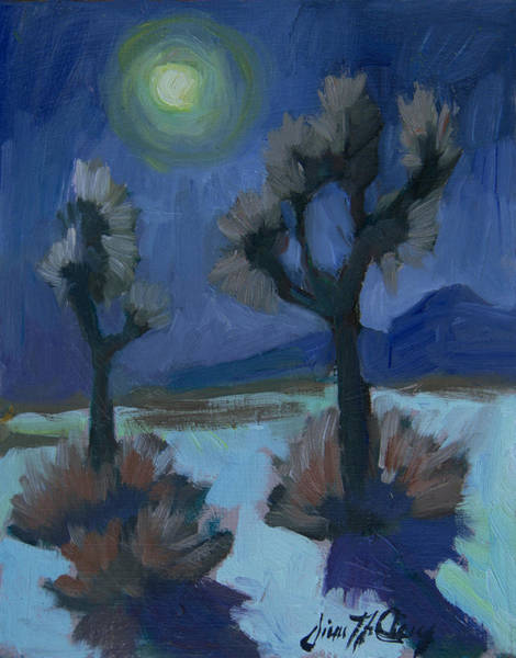 Wall Art - Painting - Moonlight And Joshua Tree by Diane McClary