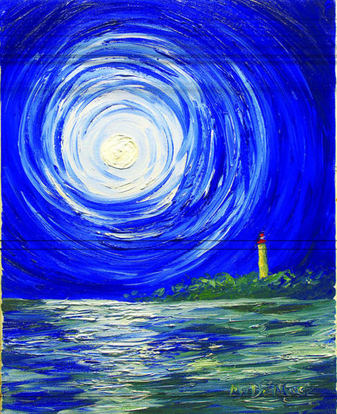 Cape May Painting - Moonlight At Cove by Michael DeMusz