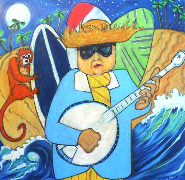 Moonlight Banjo Surfmonkey Art Print