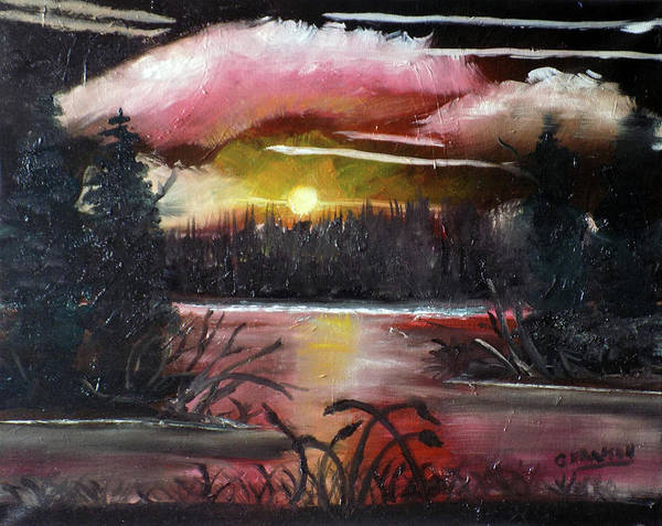 Bullrush Painting - Moonlight Bay by G Hanson