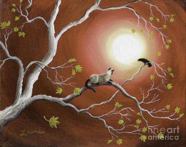 Siamese Painting - Moonlight Conversation In Sepia by Laura Iverson