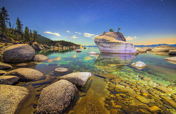 Nightscape Photograph - Moonlight Dip by Steve Baranek