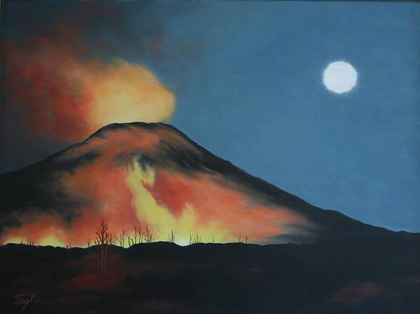 Moonlight Eruption Art Print by Mary Taglieri
