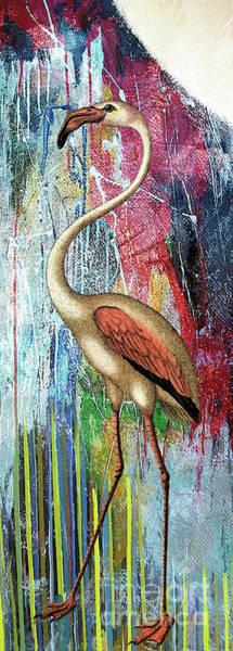 Delta Mixed Media - Moonlight Flamingo by Tammera Malicki-Wong