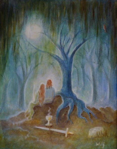 Painting - Moonlight Hallows by Bernadette Wulf