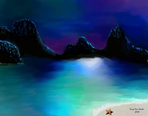 Lagoon Digital Art - Moonlight Lagoon by Tanya Van Gorder