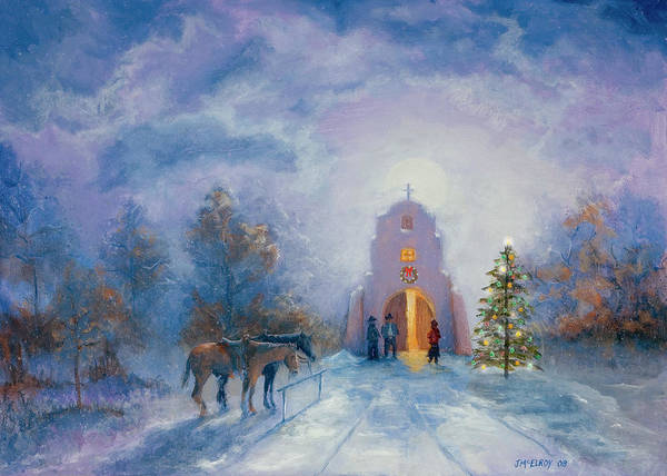 Adobe Walls Painting - Moonlight Mass Christmas Eve by Jerry McElroy