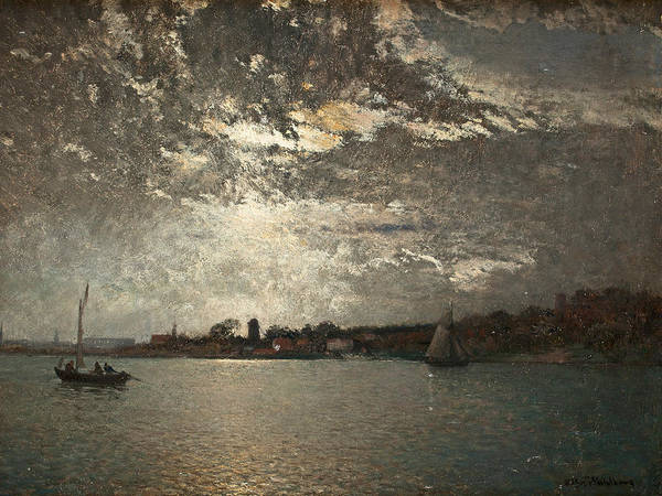 Swedish Painters Wall Art - Painting - Moonlight Mood, The Stockholm Inlet  by Alfred Wahlberg