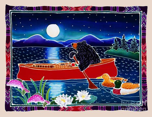 Night Painting - Moonlight On A Red Canoe by Harriet Peck Taylor