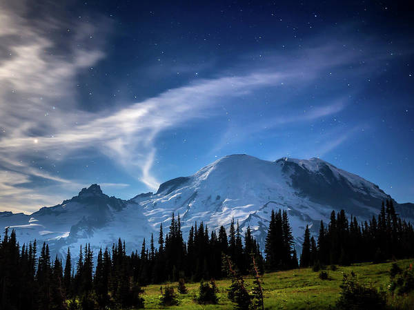 Photograph - Moonlight On Mt Rainier by Rob Green