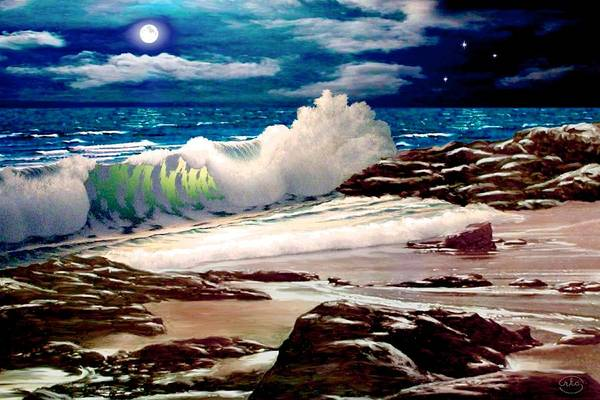 Safe Painting - Moonlight On The Beach by Ron Chambers