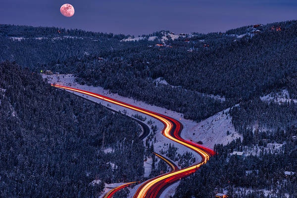 White Moon Photograph - Moonlight On The Mountains by Darren White