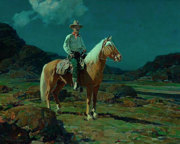 Patriotism Painting - Moonlight On The Ranch by Frank Tenney Johnson