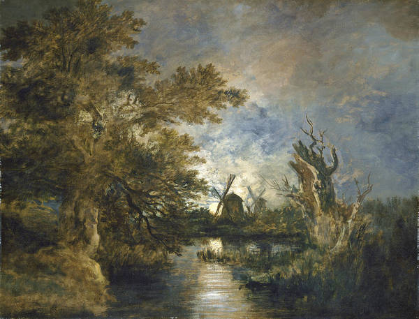 Wall Art - Painting - Moonlight On The Yare by John Crome