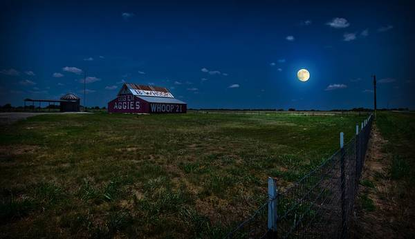 Wall Art - Photograph - Moonlight Over Aggie Barn by Linda Unger
