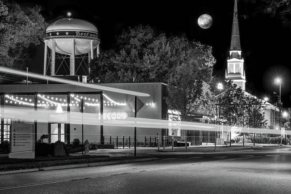 American Car Photograph - Moonlight Over The Bentonville Record And Water Tower - Black And White by Gregory Ballos