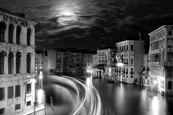Moon Black White Wall Art - Photograph - Moonlight Over Venice by Floriana Barbu