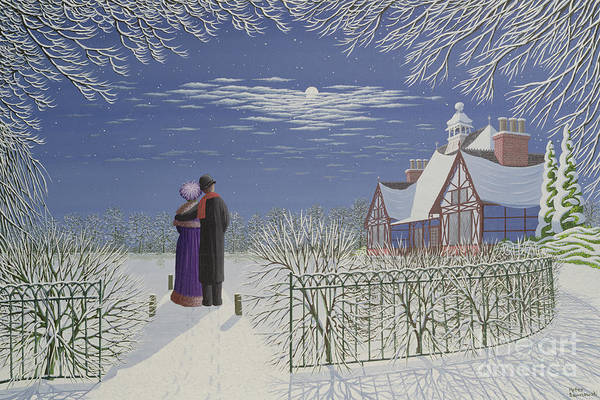 Winter Walk Painting - Moonlight by Peter Szumowski