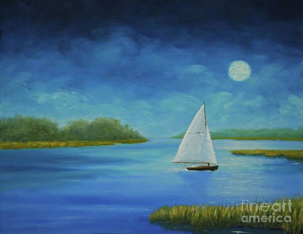 Painting - Moonlight Sail by Stanton Allaben