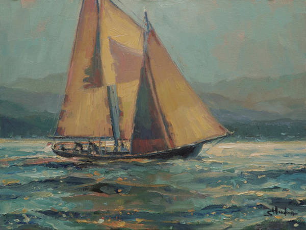 Maritime Painting - Moonlight Sail by Steve Henderson