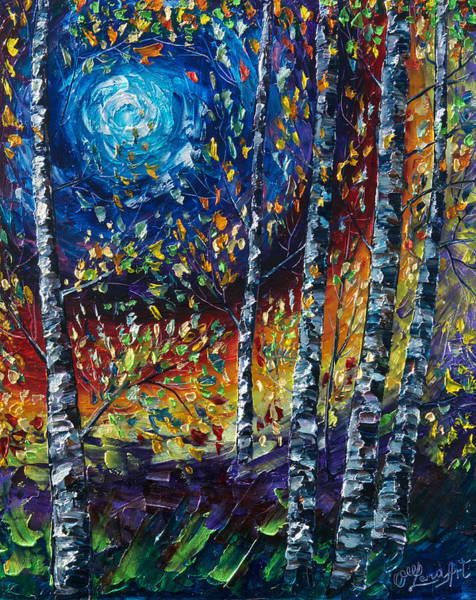 Painting - Moonlight Sonata Palette Knife  by OLena Art - Lena Owens
