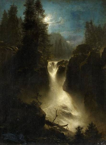 Wall Art - Painting - Moonlit Alpine Landscape by Oswald Achenbach