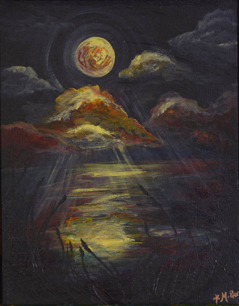 Painting - Moonlit Beach Guam by Michelle Pier