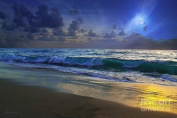 Photograph - Moonlit Beach Seascape Treasure Coast Florida C4 by Ricardos Creations
