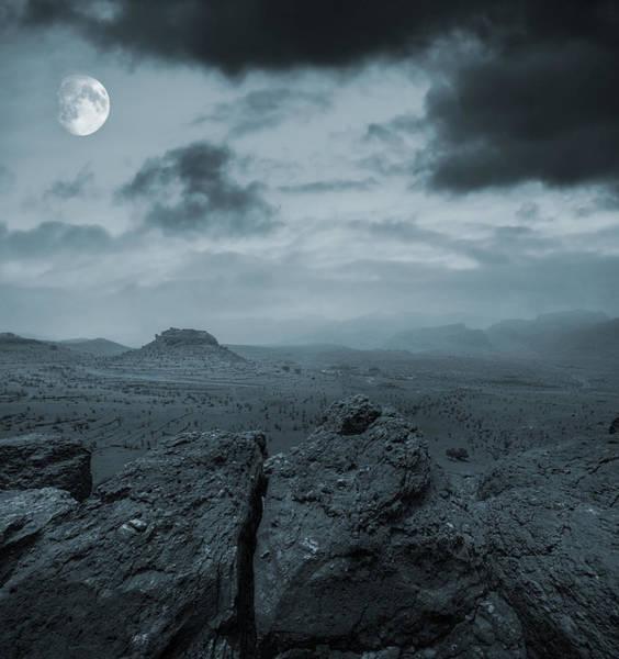 Desert View Tower Photograph - Moonlit Desert by  Jaroslaw Grudzinski