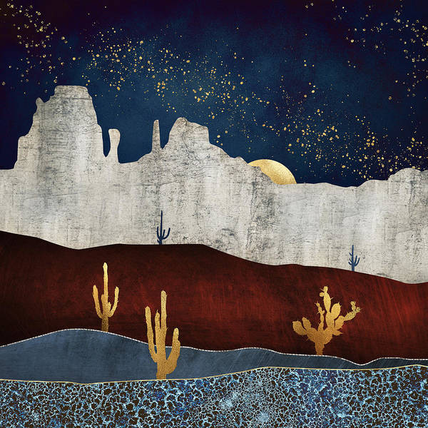 Wall Art - Digital Art - Moonlit Desert by Spacefrog Designs