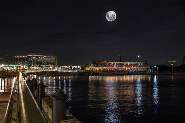 Photograph - Moonlit Disney Contemporary Resort by Chris Bordeleau