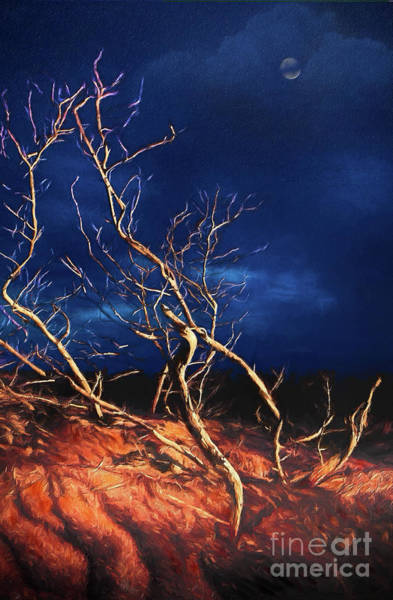 Outer Banks Painting - Moonlit Dunes On The Outer Banks Ap by Dan Carmichael