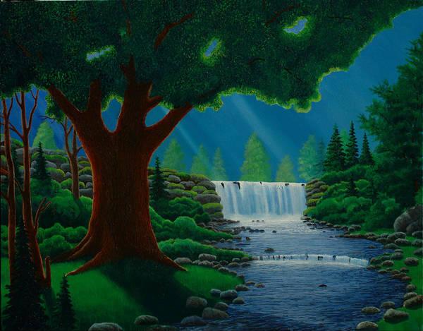 Moonlit Falls Art Print by Mark Regni
