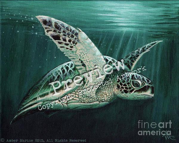 Primal Painting - Moonlit Green Sea Turtle by Amber Marine