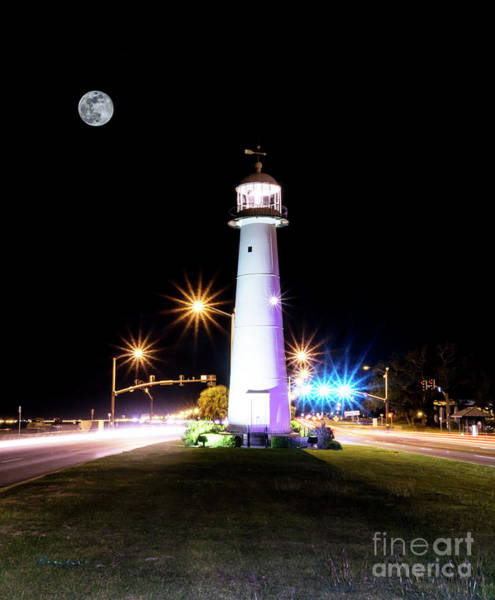 Photograph - Moonlit Gulf Coast Lighthouse Seascape Biloxi Ms 4256b by Ricardos Creations