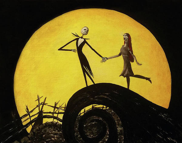 Skellington Painting - Moonlit Jack And Sally by Kait Sewell