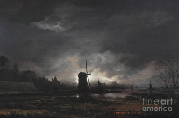 Wall Art - Painting - Moonlit Landscape With A Windmill by Aert van der Neer