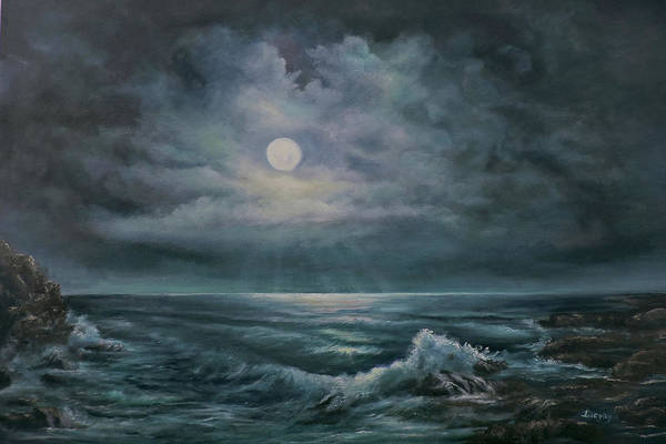 Painting - Moonlit Seascape by Katalin Luczay