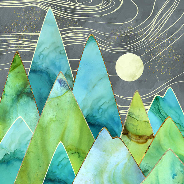Wall Art - Digital Art - Moonlit Mountains by Spacefrog Designs