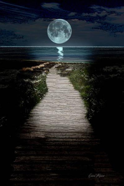 Digital Art - Moonlit Night At The Beach by Ericamaxine Price
