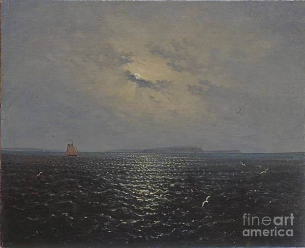 Baltic Sea Painting - Moonlit Night By Ruegen by Celestial Images