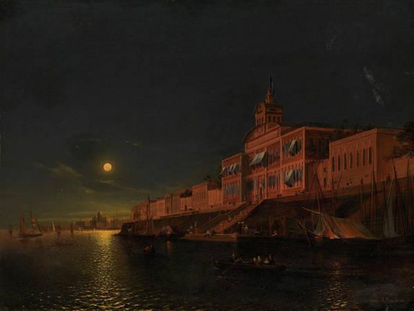 Wall Art - Painting - Moonlit Night On An Italian Lagoon by Alexander