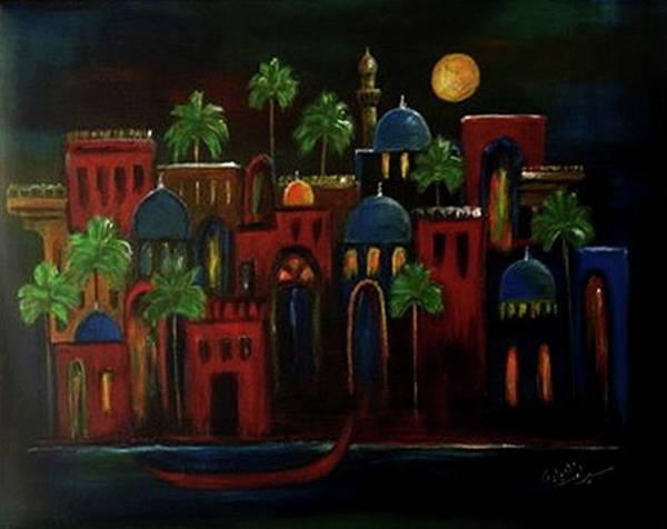 Baghdad Painting - Moonlit Night by Siran Ajel