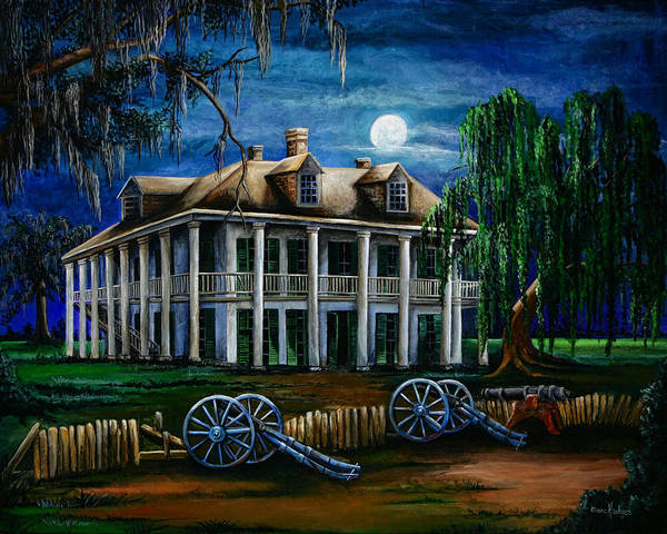 Wall Art - Painting - Moonlit Plantation by Elaine Hodges