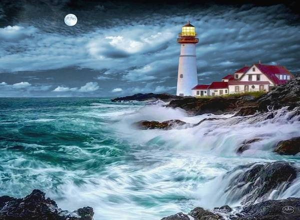 Wall Art - Painting - Moonlit Portland Head Lighthouse by Ron Chambers