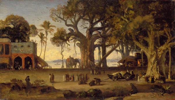 Moonlit Wall Art - Painting - Moonlit Scene Of Indian Figures And Elephants Among Banyan Trees by Johann Zoffany