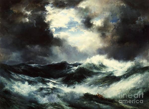 Moran Painting - Moonlit Shipwreck At Sea by Thomas Moran