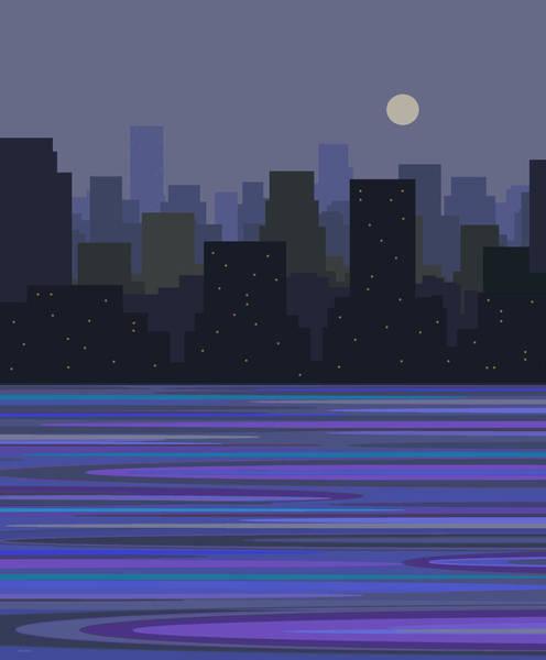 Digital Art - Moonlit Skyline by Val Arie